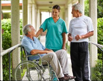 elderly seniors with caregiver